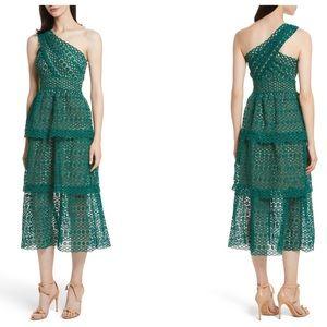 Self Portrait Lace One Shoulder Midi Dress (4)